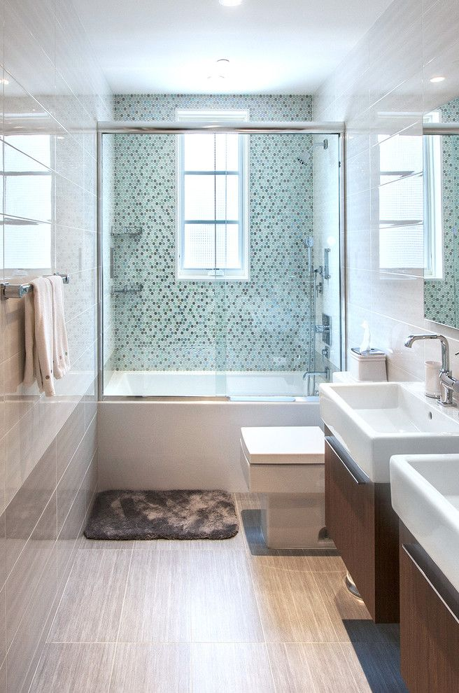 Www.clickerproducts.com for a Contemporary Bathroom with a Two Vanities and Brooklyn Home 2 by Home & Stone