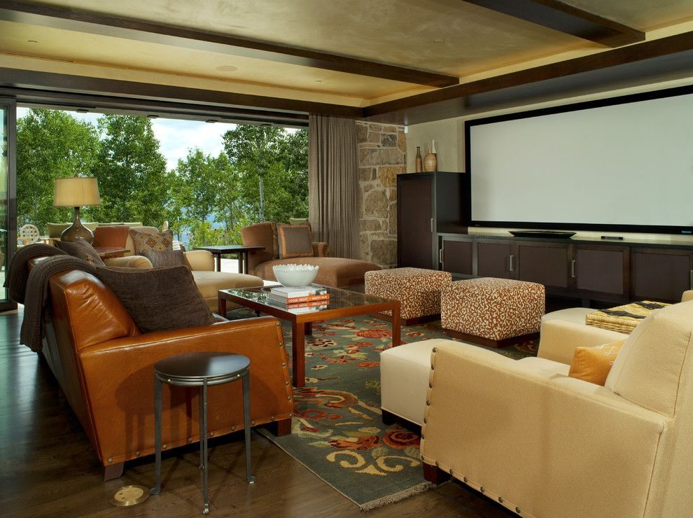 Zoom Room Denver for a Contemporary Family Room with a Dark Floor and Contemporary Media Room by Worthinteriors.com
