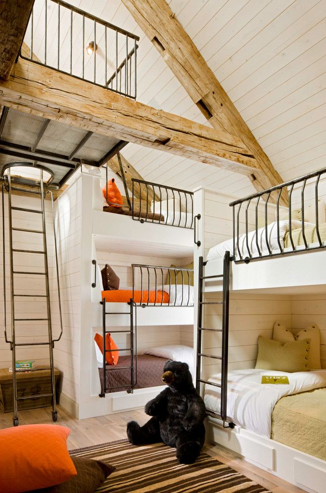 Zoom Room Denver for a Rustic Kids with a Triple Bunk Bed and Grassy Creek by Jett Thompson Antiques & Interiors