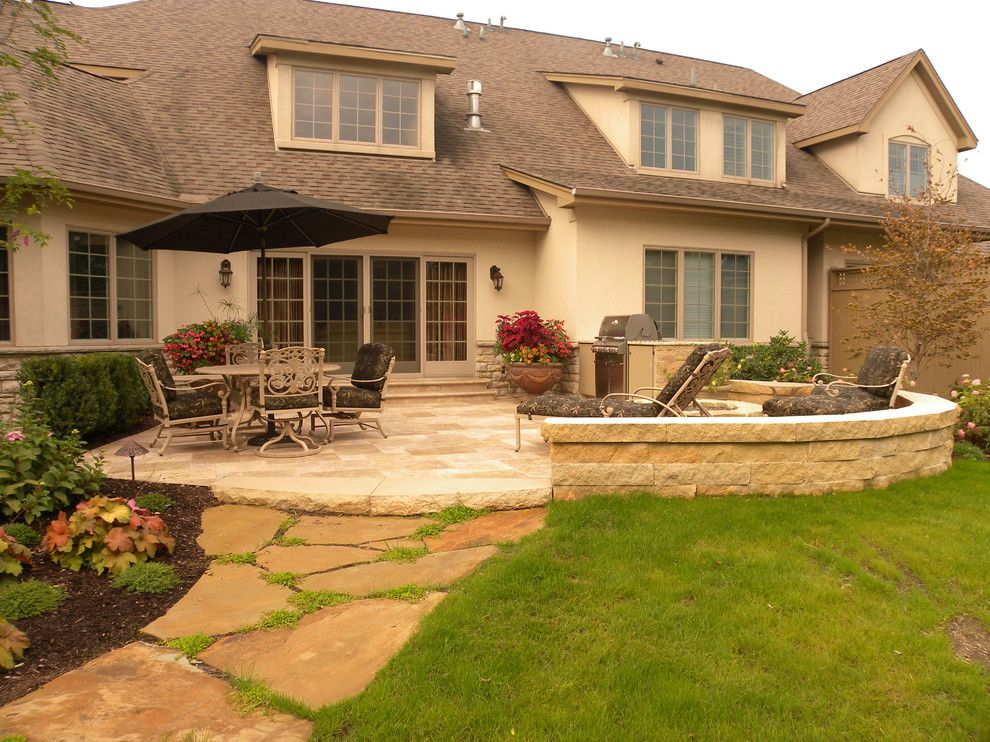 2700k Light for a Traditional Patio with a Fire Pit and Hardscaping Back Yard Patio by Smalls Landscaping