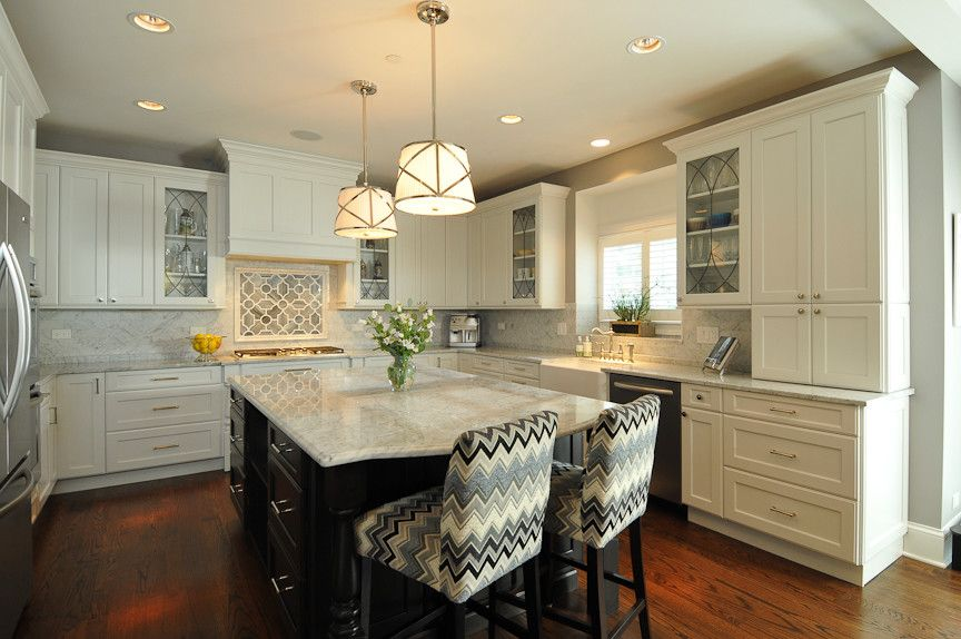 2700k Light for a Transitional Kitchen with a Truffle Dark Stained Island Cabinets and Suburban Glam by Kitchen Design Partners, Inc.