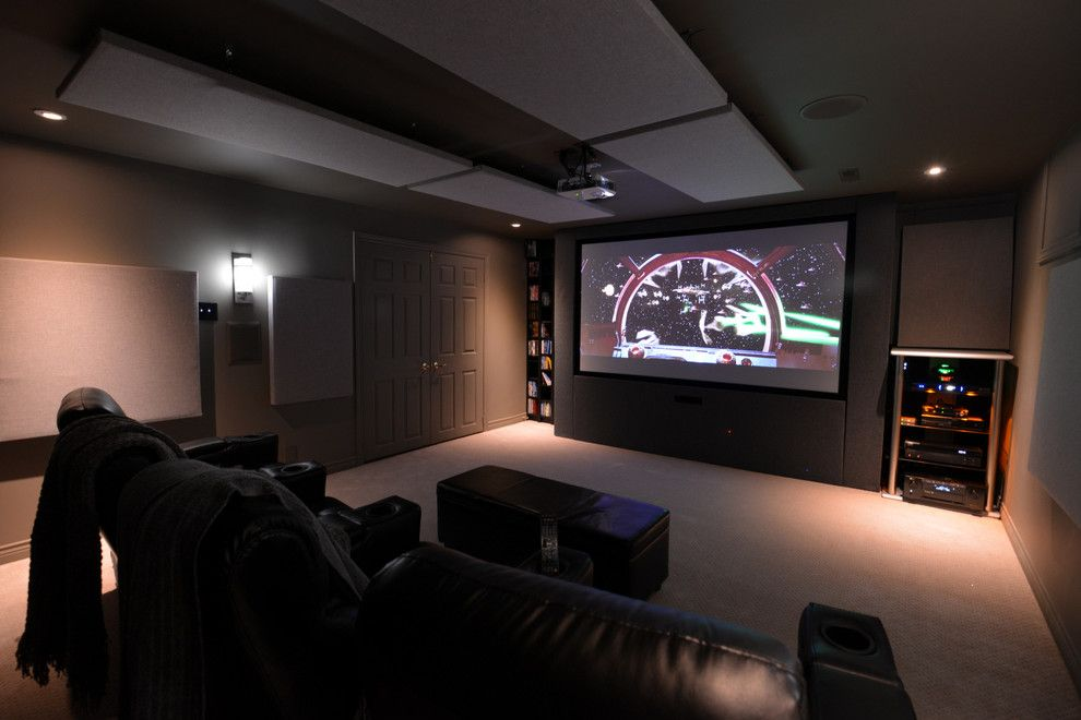40th St Movie Theater for a Modern Home Theater with a Grey and Home Theatre by Univek