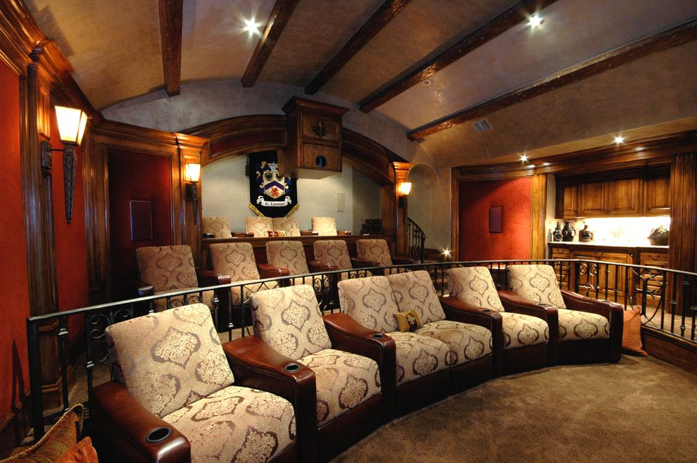 40th St Movie Theater for a Traditional Home Theater with a Wall Bar and St. Laurent Theater Room by Billiard Factory