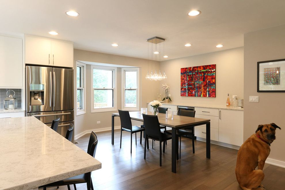 60035 for a Contemporary Kitchen with a Wide Plank Wood Flooring and Highland Park Kitchen Remodel by Prestige Renovations