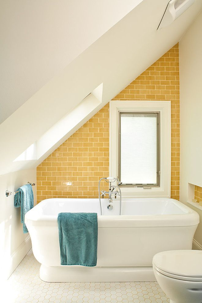 9x18 for a Beach Style Bathroom with a Accent Wall and Yellow and Turquoise Bathroom by Renewal Design Build