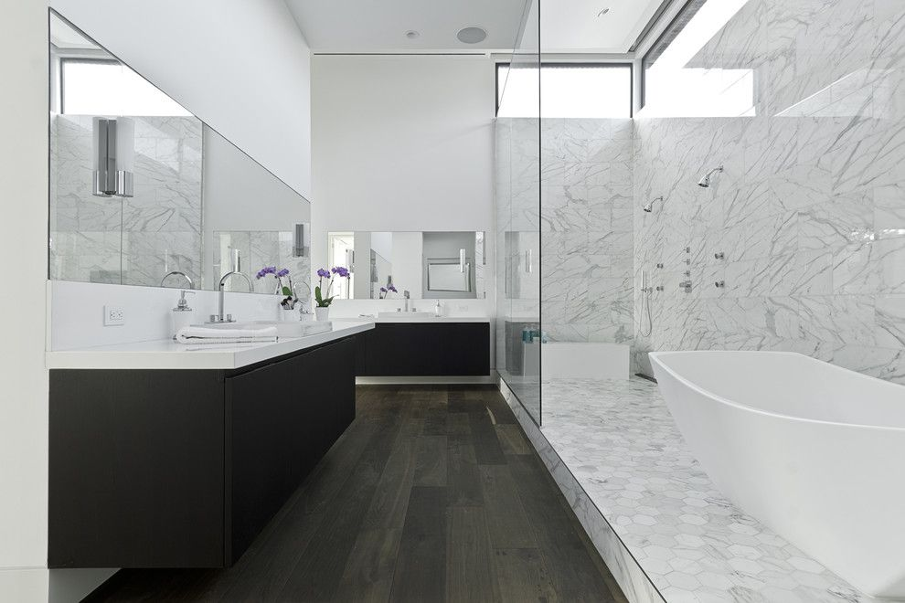 9x18 for a Contemporary Bathroom with a Prefinished Floors and Southampton by Content Architecture