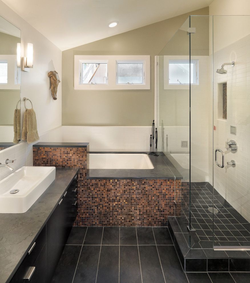 9x18 for a Contemporary Bathroom with a Vessel Sink and Elsie Street by Rossington Architecture