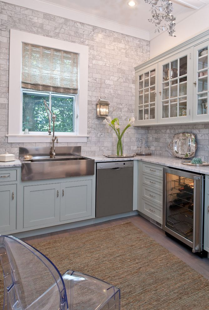 9x18 for a Traditional Kitchen with a White Trimmed Window and Magnificant Historical Home Rumson NJ by Town & Country Kitchen and Bath