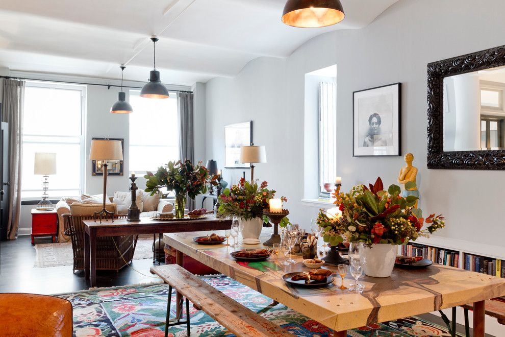 Aaa Salvage for a Eclectic Dining Room with a My Houzz and My Houzz: 5th Ave Apartment by Rikki Snyder