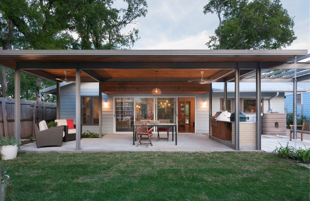 Aarons Furniture Near Me for a Contemporary Patio with a Ceiling Fan and French Place Cottage by Rick & Cindy Black Architects