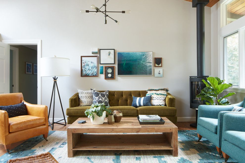 Aarons Furniture Near Me for a Transitional Living Room with a Reclaimed Wood Coffee Table and Cozy Residence by Kristina Crestin Design