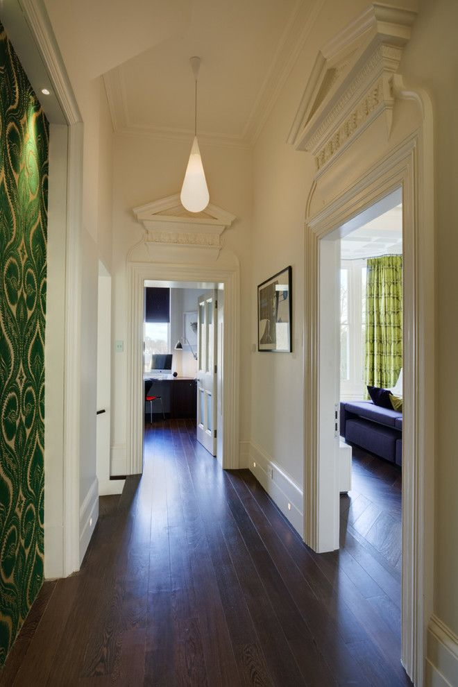 Aarons Uk Blog for a Contemporary Hall with a Dark Wood Floor and Hampstead Apartment No 1 by Stephen Fletcher Architects
