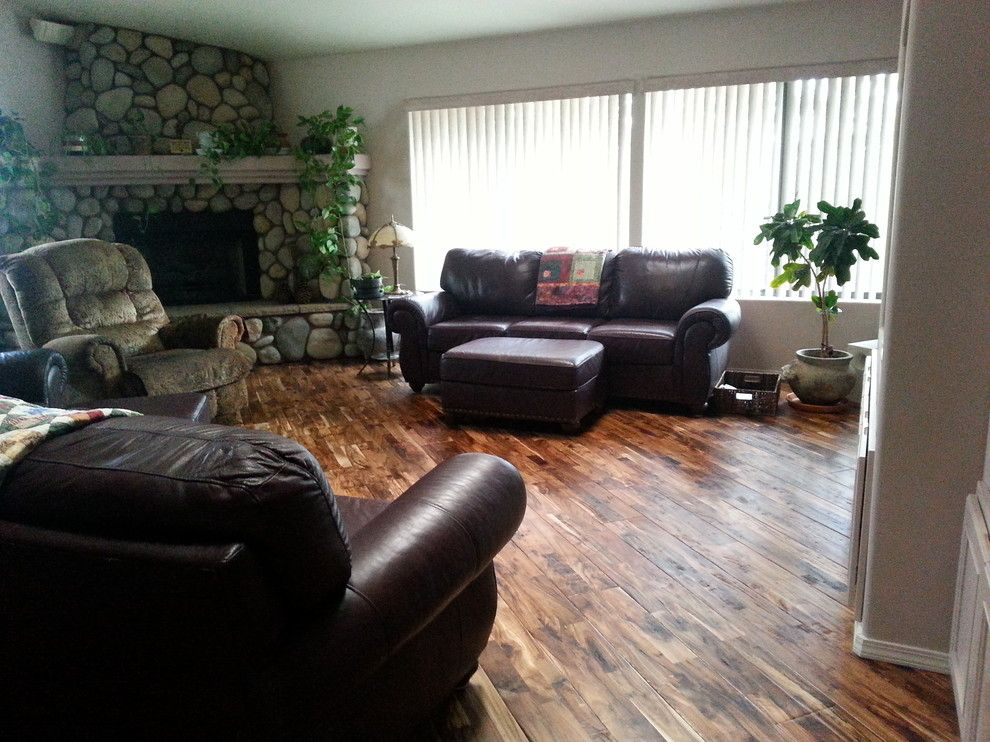 Abbey Flooring for a Rustic Living Room with a Dining Room and Hardwood by Prescott'S Abbey Flooring and Design