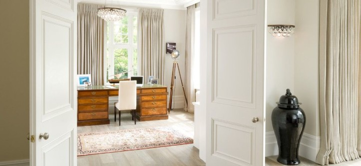 Abbey Flooring for a Victorian Home Office with a White Crown Molding and Stunning Hallway Looking Into Beautifully Finished Home Study by London Basement