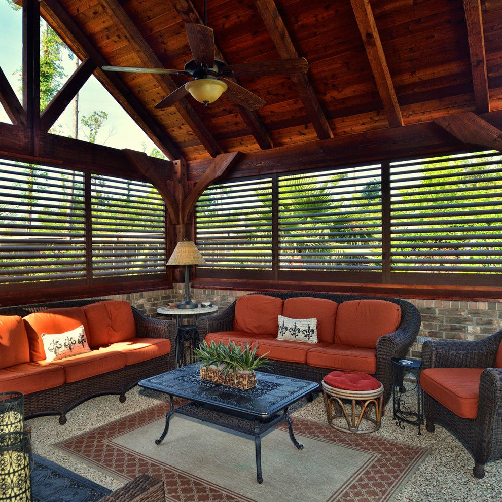 Abc Carpet Outlet for a Contemporary Sunroom with a Orange Cushions and Budget Blinds by Budget Blinds