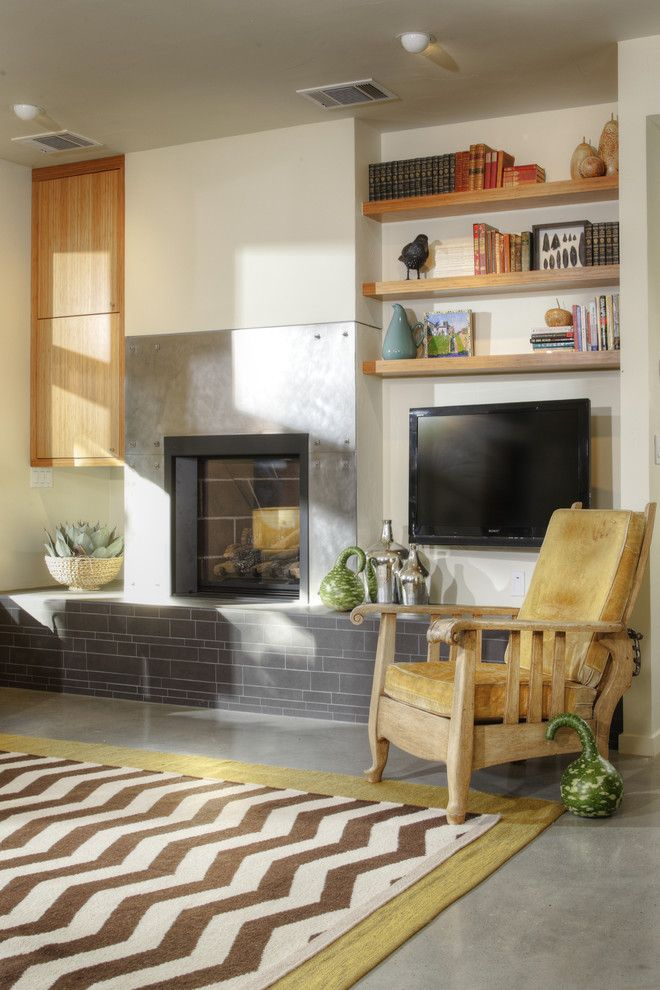 Abc Supply Denver for a Modern Living Room with a Bamboo Cabinet and Fireplace by Mak Design + Build Inc.