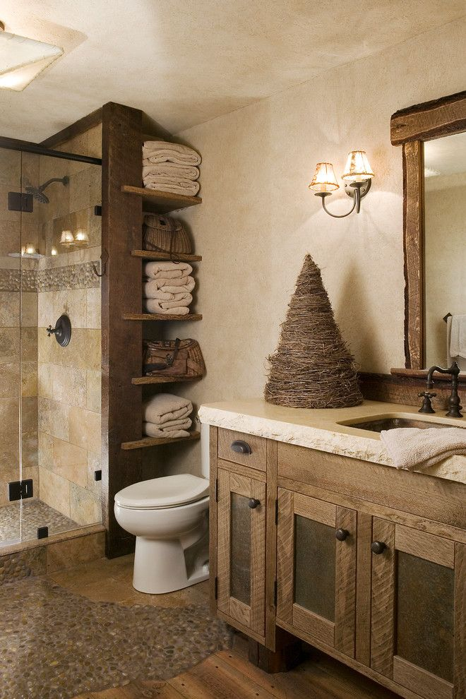 Abc Supply Denver for a Rustic Bathroom with a Found Wood and Ski Slope by High Camp Home