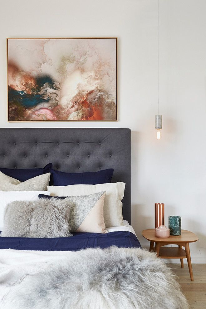 Abstract Painters for a Contemporary Bedroom with a Print and Our Showroom by United Interiors