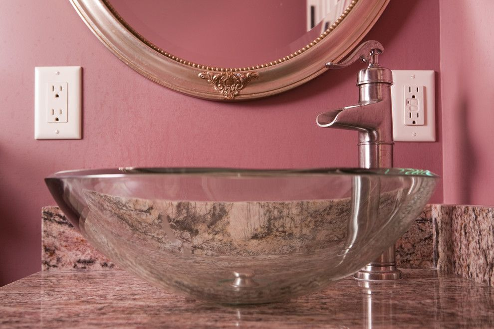 Acme Glass for a Traditional Spaces with a Oval Vanity Mirror and Bathroom Designs by Acm Design