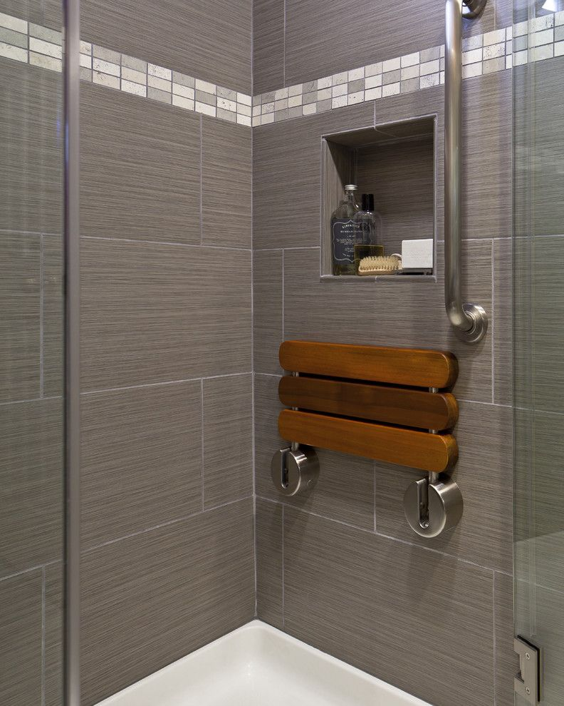 Ada Grab Bar Height for a Contemporary Bathroom with a Shower Bench and Contemporary Bathroom by Customkitchens ca.com
