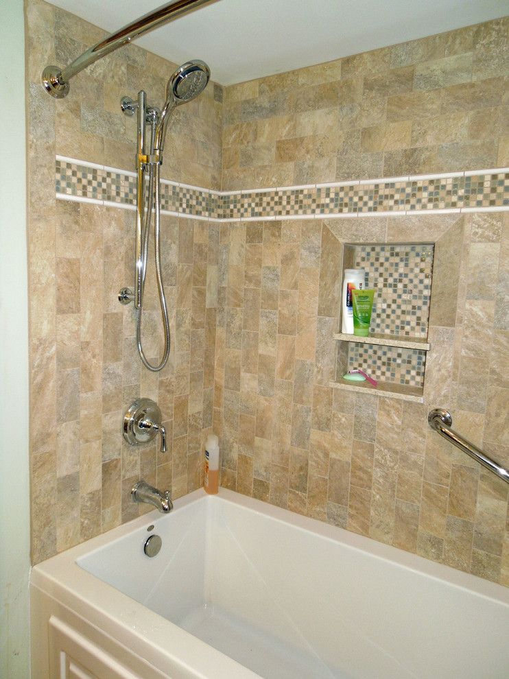 Ada Grab Bar Height for a Traditional Bathroom with a Bathtub and Spa Worthy Terrific Tile Layout. by Delicious Kitchens & Interiors, Llc