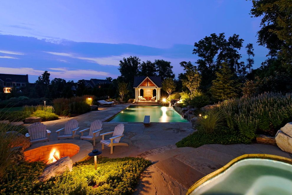 Adirondack Camp for a Eclectic Landscape with a Landscape Lighting and Nature's Beauty by Surrounds Landscape Architecture + Construction