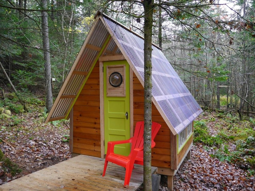 Adirondack Camp for a Eclectic Shed with a Red Adirondack Chair and Reading Room /  Tiny Cabin by Onduline North America, Inc.