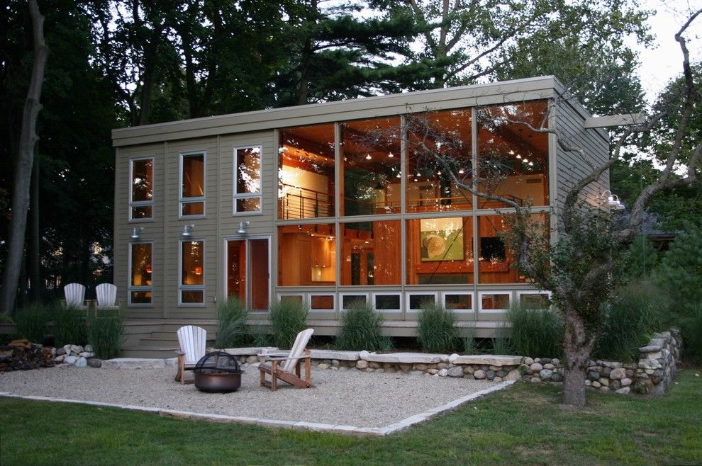Adirondack Camp for a Modern Exterior with a Modern Barn and Lakeside Think Tank, Michigan by Carr Warner, Architects