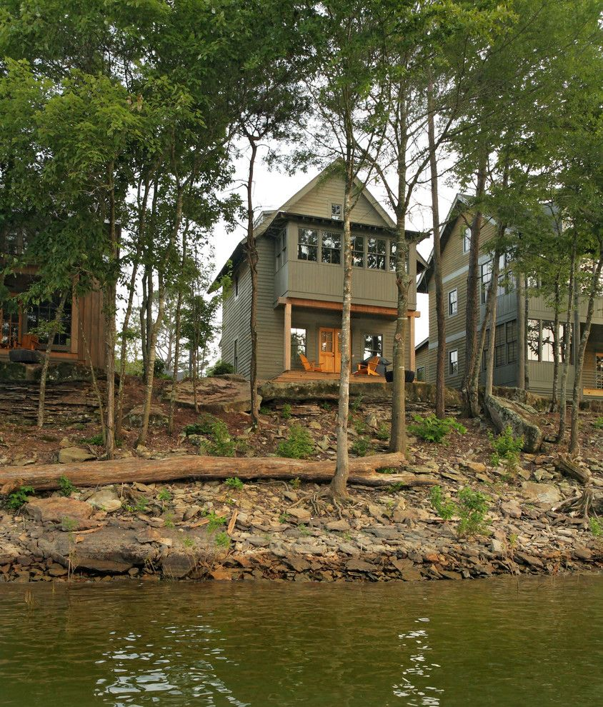 Adirondack Camp for a Rustic Exterior with a Water Front and Silverock Cove by Jeffrey Dungan Architects