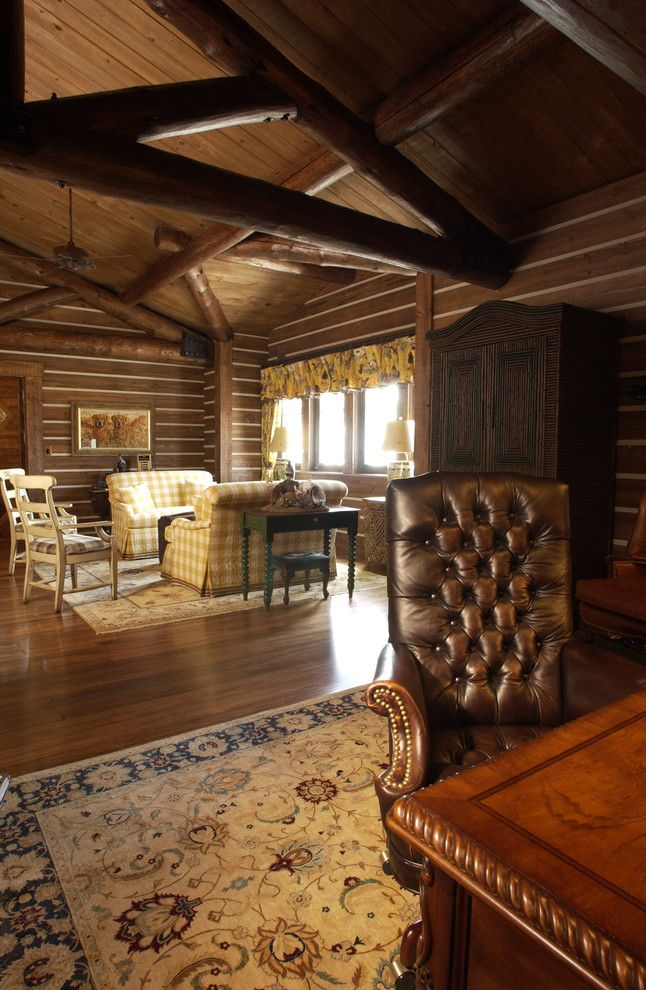 Adirondack Lodge for a Rustic Home Office with a Boat House and Office by Gabberts Design Studio