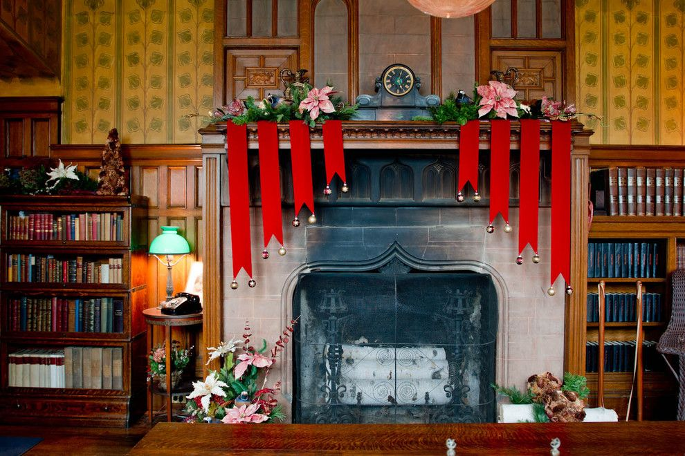 Adorne for a Traditional Living Room with a Fireplace and Wilderstein Holiday Tour by Rikki Snyder