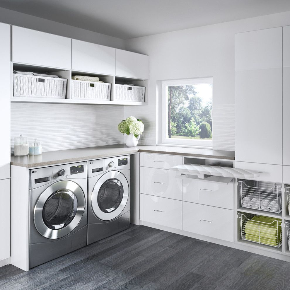 Aerofit College Station for a Contemporary Laundry Room with a Wire Baskets and Contemporary Laundry Room by Californiaclosets.com