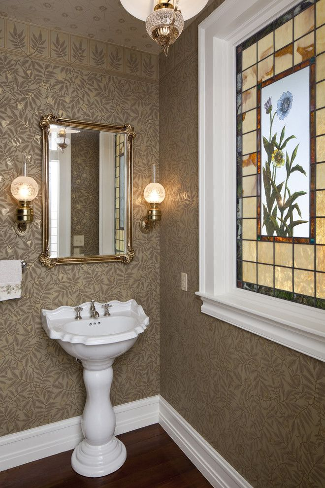 Aho Construction for a Victorian Powder Room with a White Trim and Bastrop County Plantation House by Voh Architects