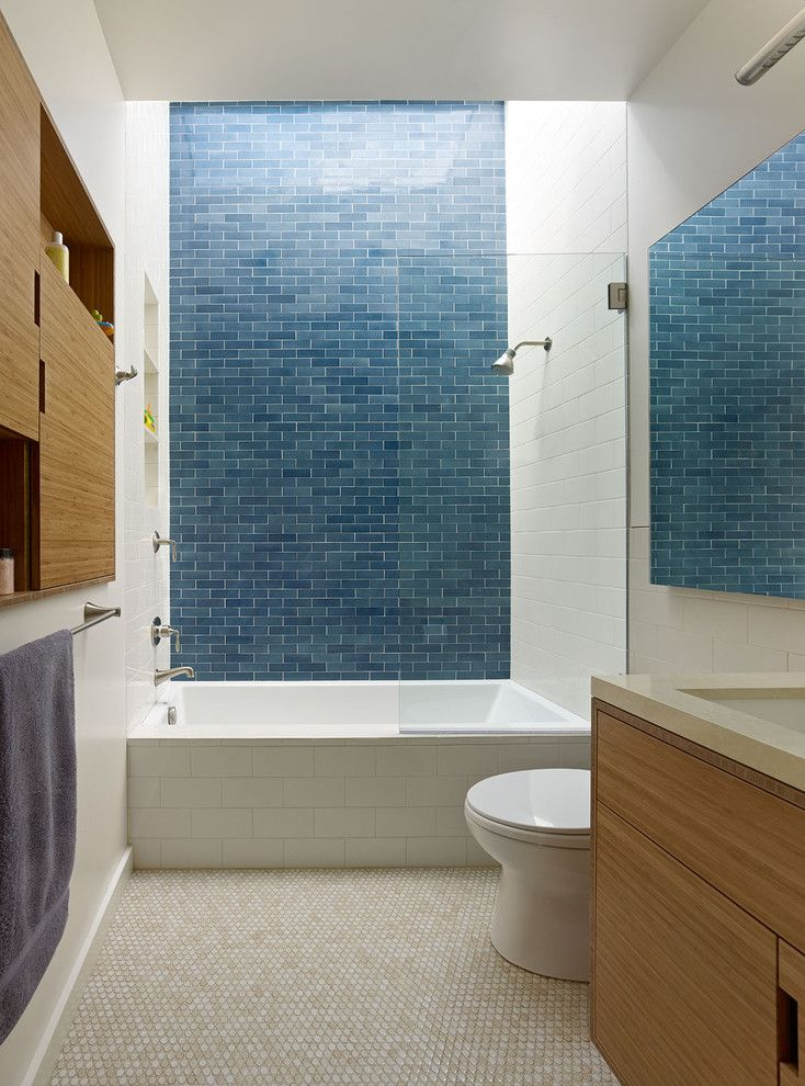 Aia Sf for a Contemporary Bathroom with a Blue Tile and Mateo Street House by Boor Bridges Architecture