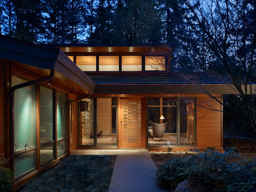 Aia Sf for a Midcentury Entry with a Night Lighting and Lake Forest Park Renovation by Finne Architects