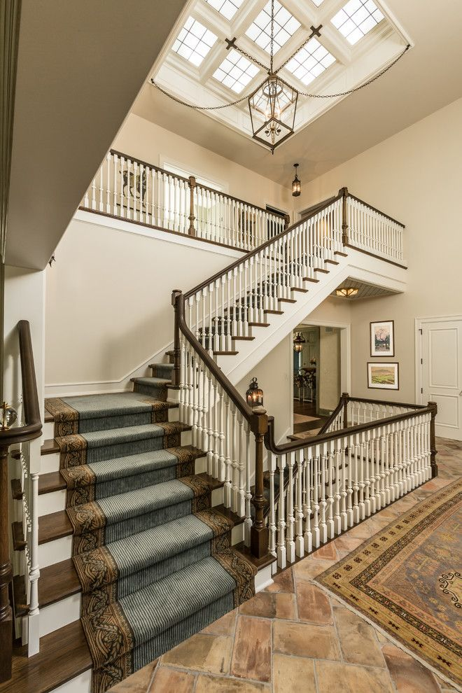 Airbase Carpet Mart for a Traditional Staircase with a Pendant Light and M Magazine by Edmunds Studios Photography, Inc.