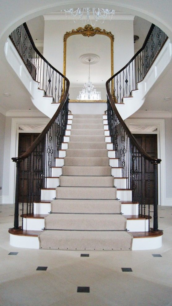 Airbase Carpet Mart for a Traditional Staircase with a Stair Railing and Grand Staircase by Warren Hughes Ltd