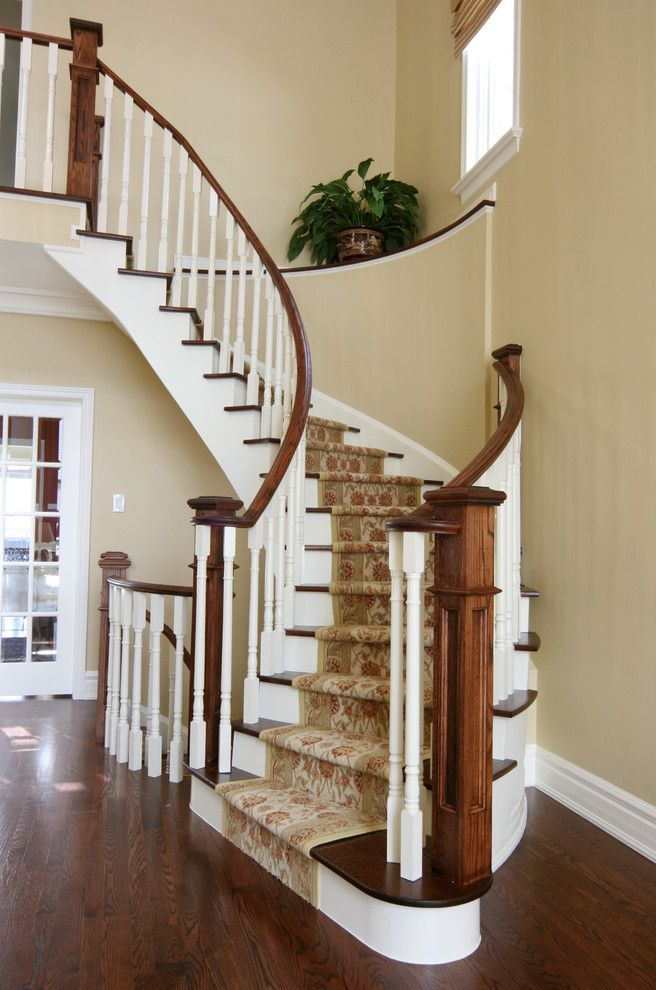Airbase Carpet Mart for a Traditional Staircase with a Wood Handrail and Jennifer Brouwer Design Inc by Jennifer Brouwer (Jennifer Brouwer Design Inc)