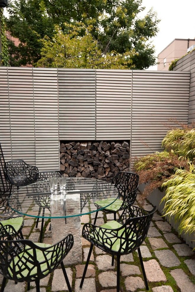 Airco Mechanical for a Contemporary Landscape with a Glass Dining Table and South End Courtyard by Matthew Cunningham Landscape Design Llc