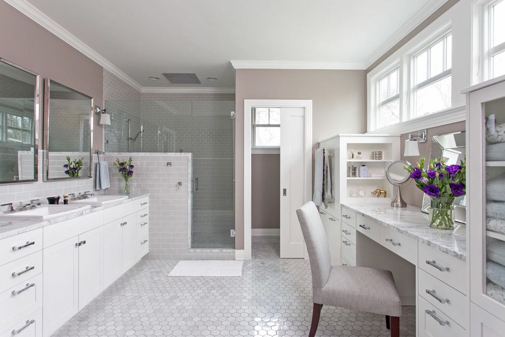 Aireco Supply for a Traditional Bathroom with a Double Vanity and Clean & Classic by Cg&s Design Build