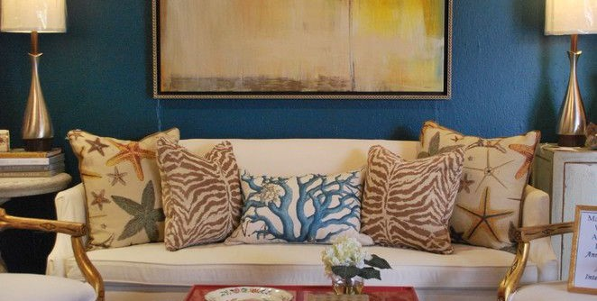 Alabama Furniture Market for a Eclectic Living Room with a Faux Bois and Mad for Galapagos Turquoise by Anna Lattimore Interior Design