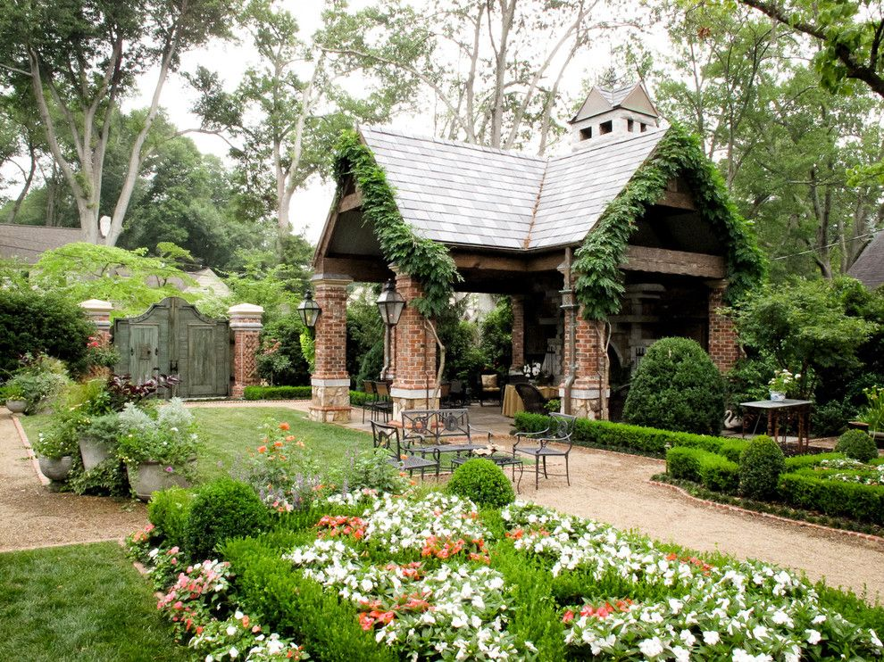 Alabama Furniture Market for a Traditional Landscape with a Lawn and Fireplace Pavillion with Wood Gate by the Collins Group/jdp Design
