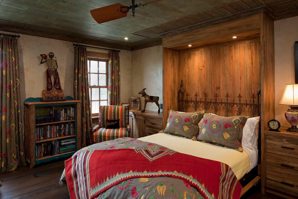 Alcove Definition for a Rustic Bedroom with a Ceiling Fan and Ranch House by Rachel Mast Design
