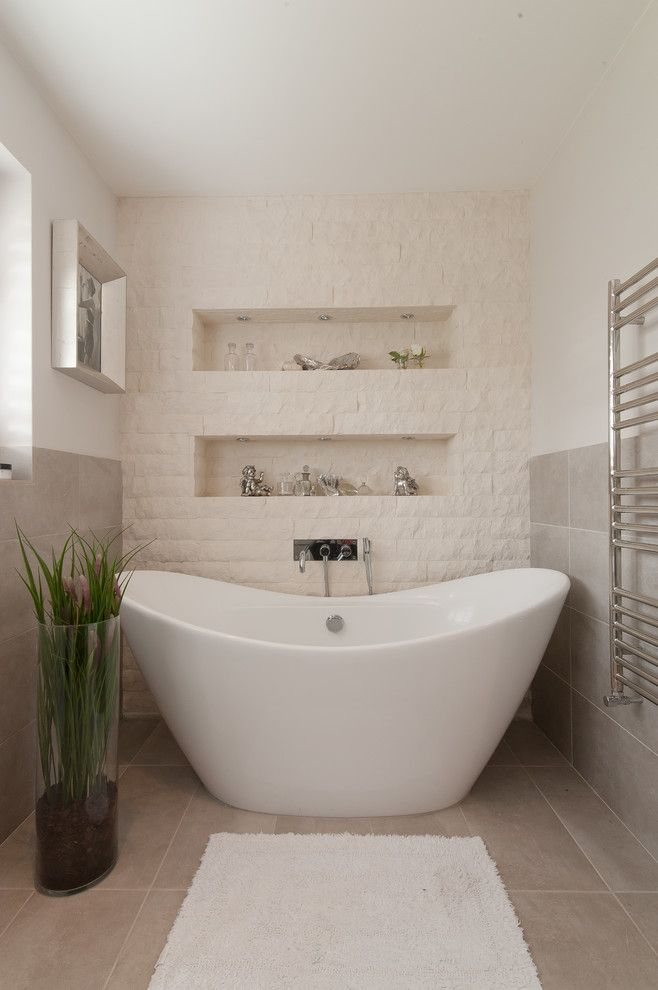 Alcove Definition for a Transitional Bathroom with a Towel Warmer and Pilgrims Way by 50 Degrees North Architects