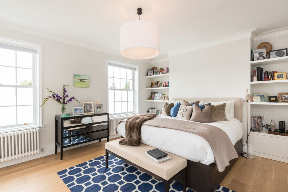 Alcove Definition for a Transitional Bedroom with a Throw and Hampstead Heath Family Home by Design Box London
