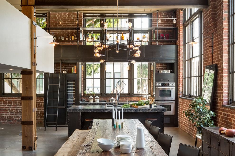 Alden San Francisco for a Industrial Dining Room with a Modern and Clocktower Loft by Muratore Construction + Design