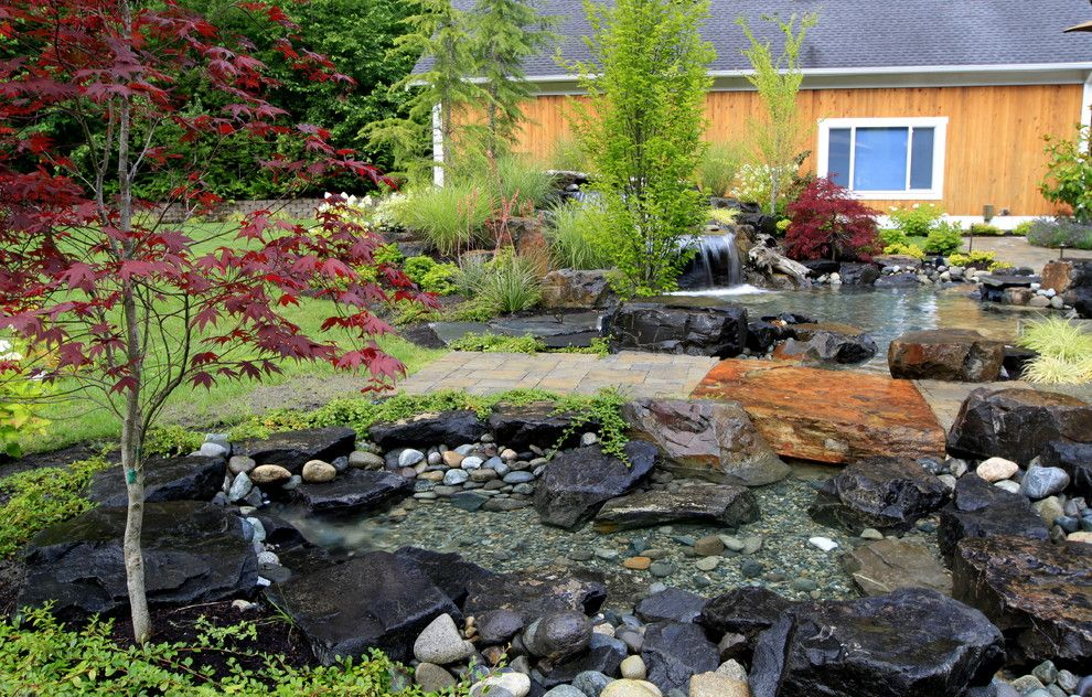 Alderwood for a Contemporary Landscape with a Landscape Lighting and Alderwood Landscape by Alderwood Landscape Architecture and Construction