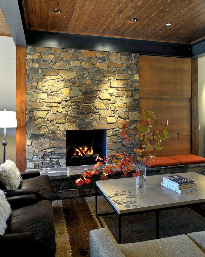 Alexa Hampton for a Contemporary Living Room with a Orange Seat Cushions and Suncadia Residence, Washington by Clinkston Architects