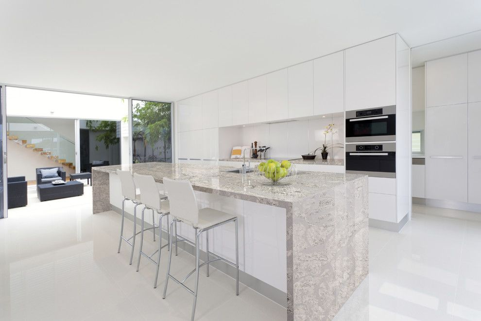 Alexa Hampton for a Modern Spaces with a Quartz Countertop and Summerhill From Cambria's Coastal Collection by Cambria
