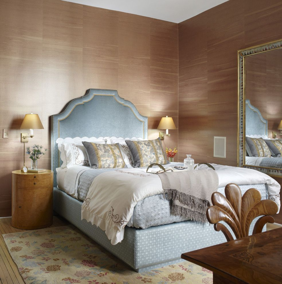 Alexa Hampton for a Traditional Bedroom with a Area Rug and East Lake Shore Drive Residence by Jessica Lagrange Interiors